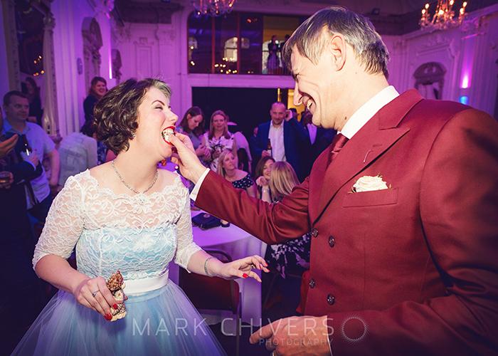 Eating wedding cake with Wedding photography at Bush Hall